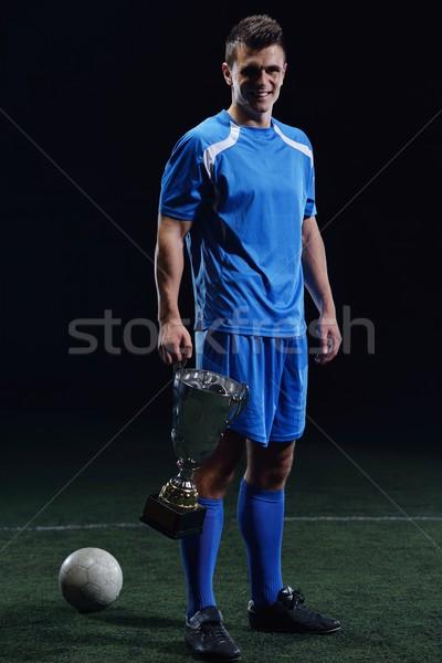 Foto stock: Futbolista · patear · pelota · fútbol · estadio · campo