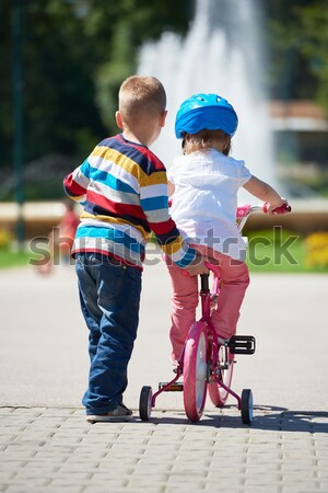 happy grandfather and child in park Stock photo © dotshock
