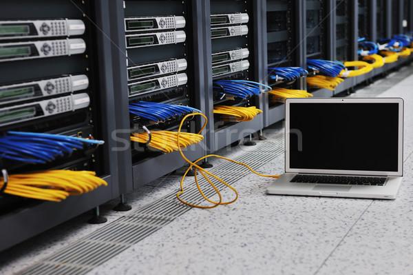 laptop computer at server network room Stock photo © dotshock