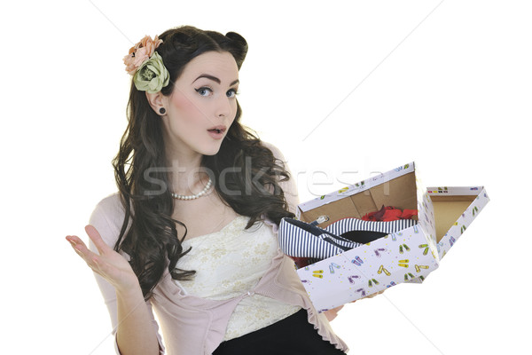 happy young woman with new shoes Stock photo © dotshock