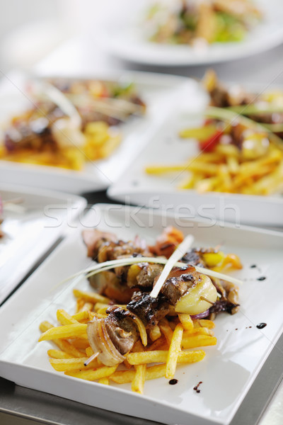 Smaczny mięsa Stick grill BBQ warzyw Zdjęcia stock © dotshock