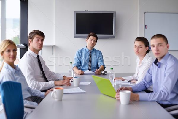 Foto stock: Gente · de · negocios · reunión · oficina · grupo · feliz · jóvenes