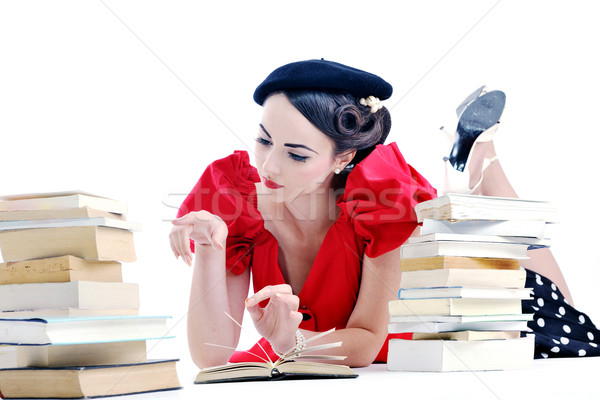 beautiful young woman read book Stock photo © dotshock