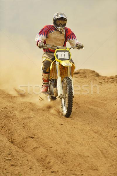 Motocross bisiklet yarış hızlandırmak güç aşırı Stok fotoğraf © dotshock