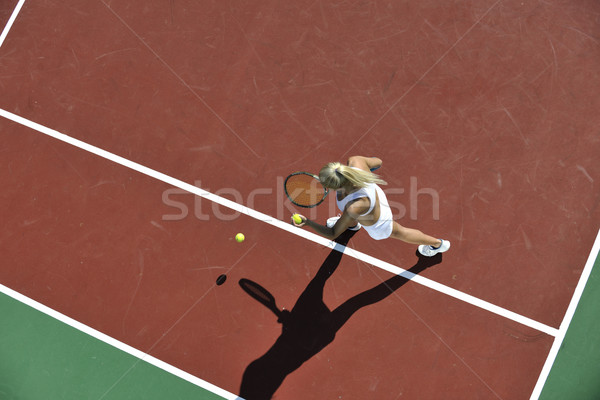 young woman play tennis outdoor Stock photo © dotshock
