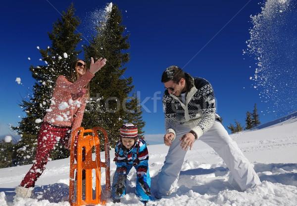Stock foto: Familie · frischen · Schnee · Winter · Urlaub