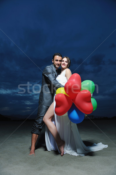 Stockfoto: Romantische · strand · bruiloft · zonsondergang · gelukkig