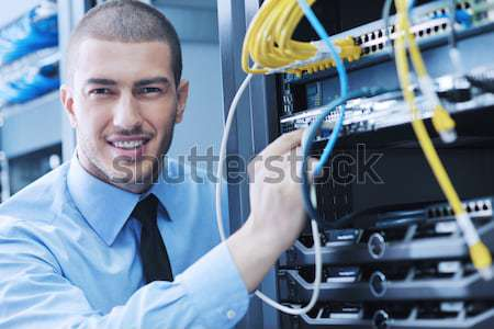 Stockfoto: Jonge · ingenieur · server · kamer · knap