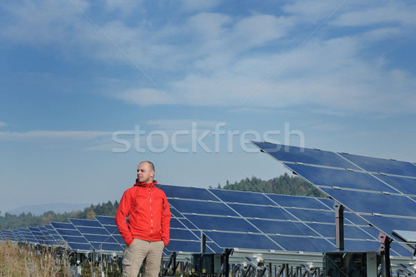 Male solar panel engineer at work place Stock photo © dotshock