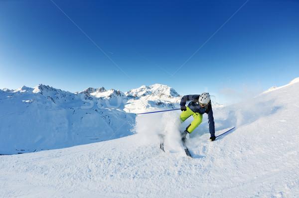 Foto stock: Esquí · frescos · nieve · temporada · de · invierno · hermosa