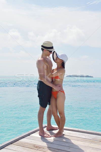 happy young couple have fun on beach Stock photo © dotshock