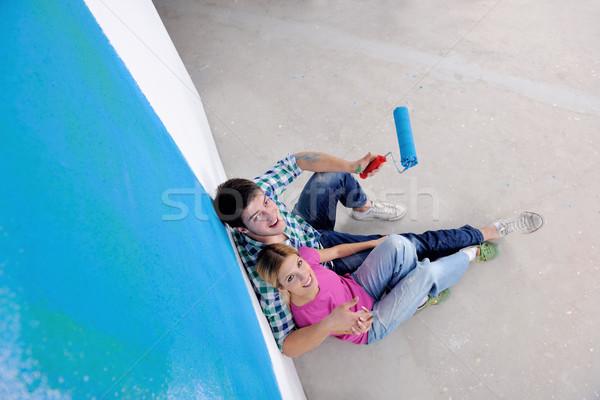 Foto stock: Feliz · jóvenes · relajante · pintura · nuevo · hogar