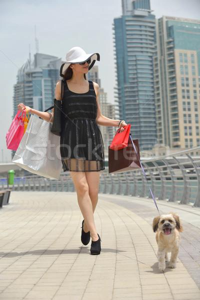 beautiful woman goes in shopping Stock photo © dotshock