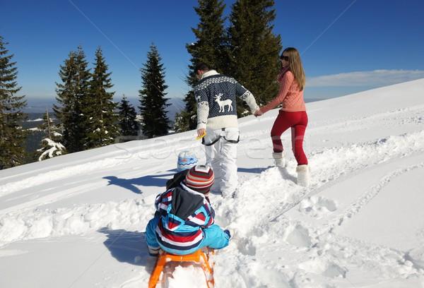 ストックフォト: 家族 · 新鮮な · 雪 · 冬 · 休暇