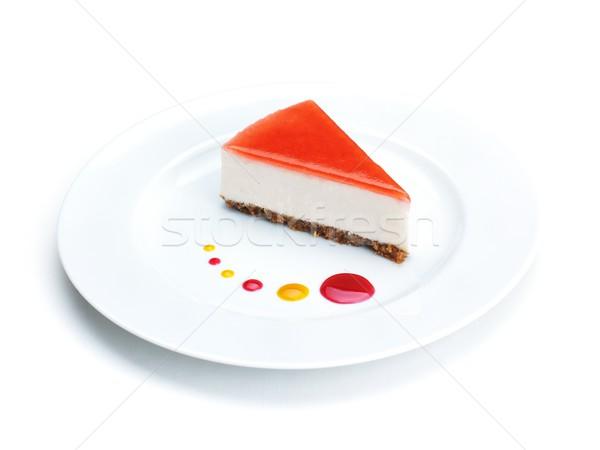 Sernik truskawki odizolowany biały żywności strony Zdjęcia stock © dotshock