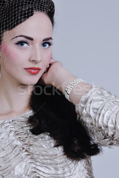 красивой невеста молодые подвенечное платье ретро Сток-фото © dotshock