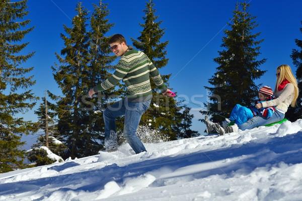 семьи свежие снега зима отпуск Сток-фото © dotshock