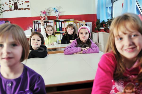 Stok fotoğraf: Mutlu · çocuklar · öğretmen · okul · sınıf · genç