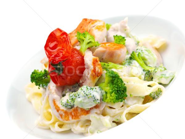 Stock fotó: Makaróni · sajt · tyúk · gombák · étel · levél
