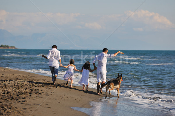 happy family playing with dog on beach Stock photo © dotshock