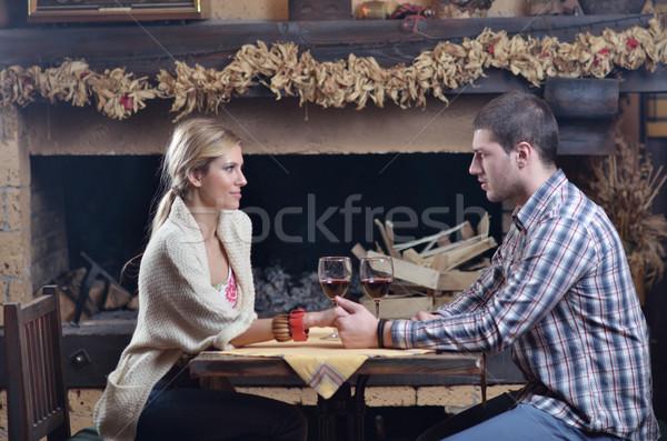 Foto stock: Jóvenes · romántica · Pareja · sesión · relajante · chimenea