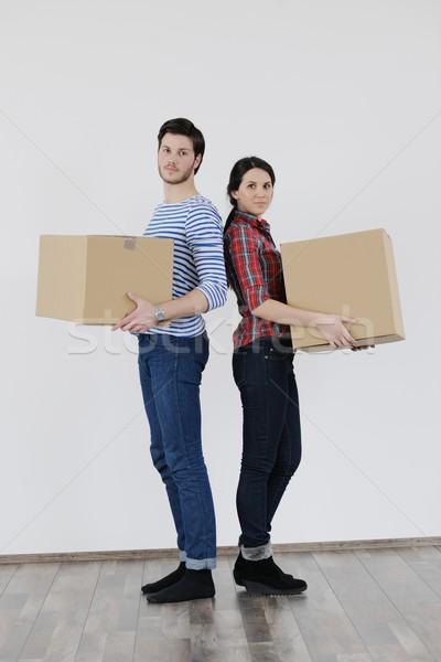 Fiatal pér mozog új otthon boldog nő ház Stock fotó © dotshock