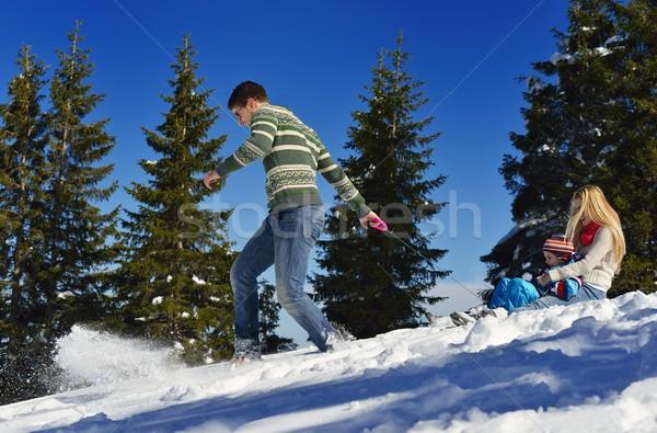 家族 新鮮な 雪 冬 休暇 ストックフォト © dotshock