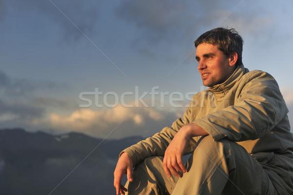 新鮮な 日の出 山 健康 若い男 練習 ストックフォト © dotshock