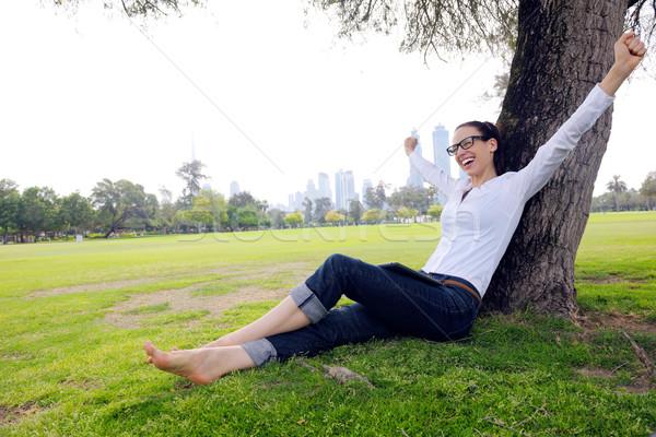 ストックフォト: 美しい · 若い女性 · タブレット · 公園 · 小さな · 学生