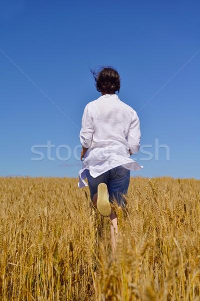 Mulher jovem campo de trigo verão em pé saltando corrida Foto stock © dotshock