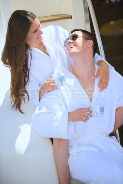 young couple on yacht Stock photo © dotshock