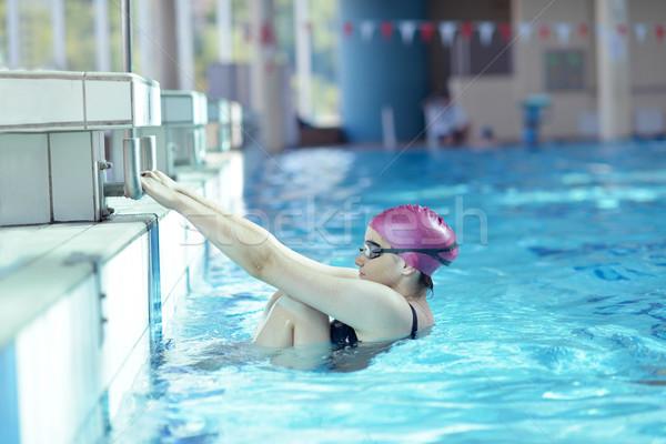 Gelukkig kind zwembad leuk water meisje Stockfoto © dotshock