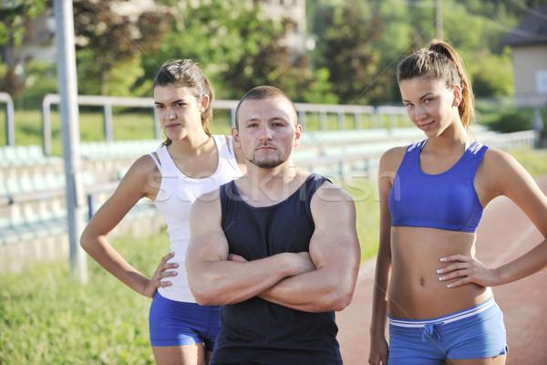 Team Gruppe Leichtathletik Menschen stehen posiert Stock foto © dotshock