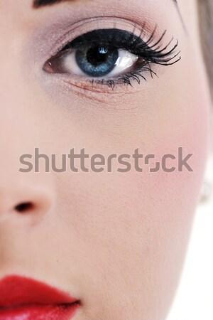 Stockfoto: Mooie · jonge · vrouw · geïsoleerd · witte · studio · oude
