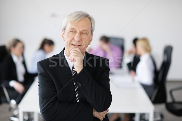 Foto stock: Pessoas · de · negócios · equipe · reunião · luz · moderno · escritório