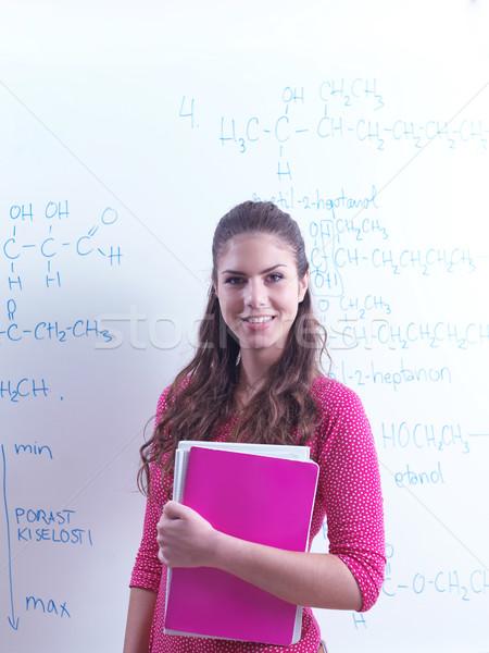 Uczennica szczęśliwy kolaż student portret kobieta Zdjęcia stock © dotshock