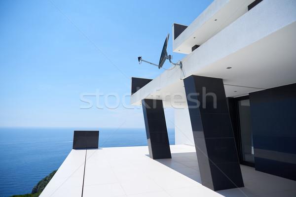 Photo stock: Modernes · maison · vue · contemporain · villa · coucher · du · soleil