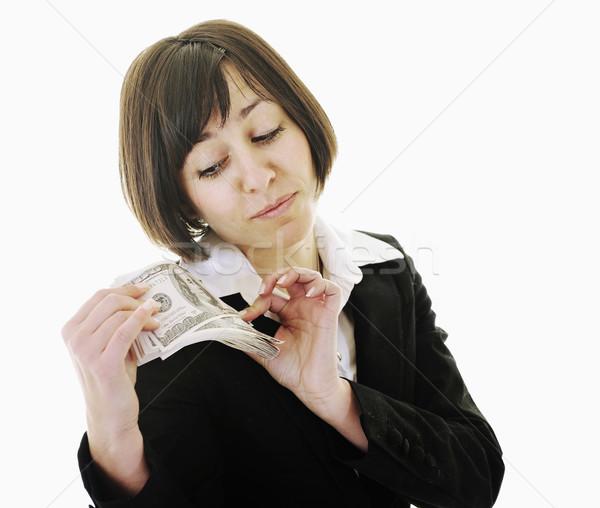 Pénz boldog fiatal üzletasszony izolált fehér Stock fotó © dotshock