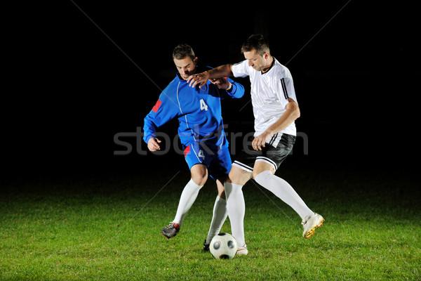 Foto stock: Fútbol · jugadores · acción · pelota · competencia · ejecutar