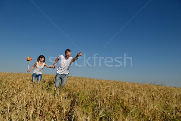 幸せ カップル 麦畑 愛 ロマンス ストックフォト © dotshock