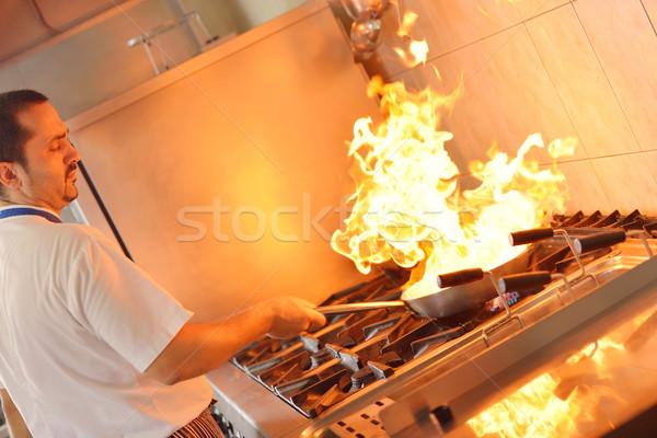 повар красивый белый равномерный пасты Сток-фото © dotshock