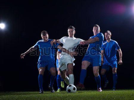 Voetbal spelers actie bal concurrentie lopen Stockfoto © dotshock