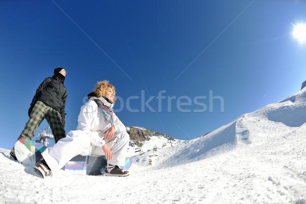 Stockfoto: Vreugde · winterseizoen · winter · vrouw · ski · sport