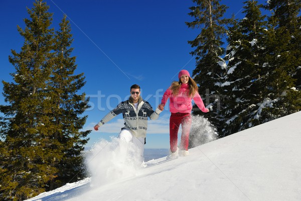 young couple on winter vacation Stock photo © dotshock