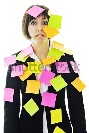 Ein frustriert jungen business woman viele post it Stock foto © dotshock