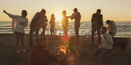 happy young  people group have fun on beach Stock photo © dotshock