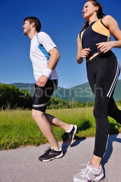 Jogging parku rano zdrowia fitness Zdjęcia stock © dotshock