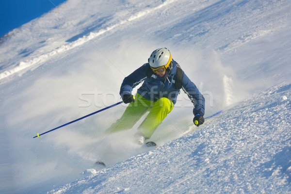 лыжах свежие снега зимний сезон красивой Сток-фото © dotshock