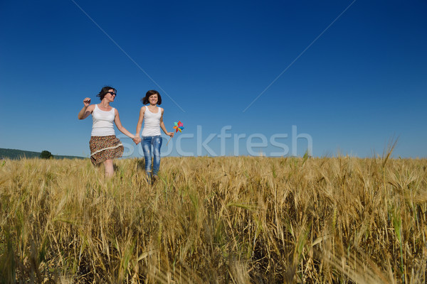 happy couple in wheat field Stock photo © dotshock