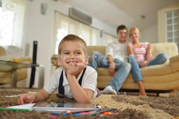 Családi otthon boldog fiatal család gyerekek fényes Stock fotó © dotshock